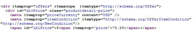 Product Price Rich Snippet Code