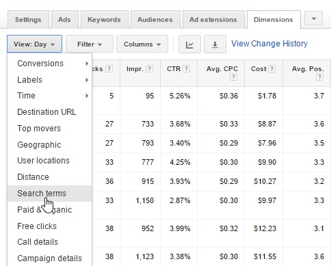 AdWords Dimensions Search Terms